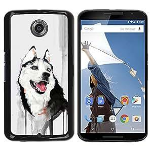 Planetar® ( Funny Friendly Husky Painting Watercolor ) Motorola NEXUS 6 / Moto X / Moto X Pro Fundas Cover Cubre Hard Case Cover