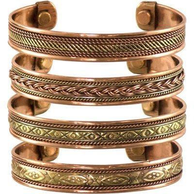 Set of 4 Tibetan Copper Bracelets Magnetic India Pattern Women's Men's Spiritual Yoga Jewelry