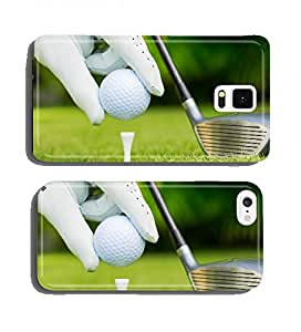 Close up view of golf ball on tee on golf course cell phone cover case Samsung S4 mini
