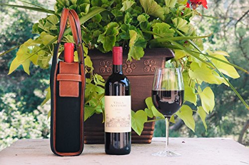 (Handmade Italian Wine Case-Onyx Waxed Canvas with Terra Vachetta Trim)