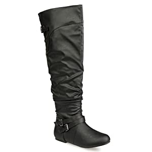 Twisted Women's Shelly Wide Calf Slouchy Over the Knee Faux Leather Fashion Boot- BLACK , Size 9