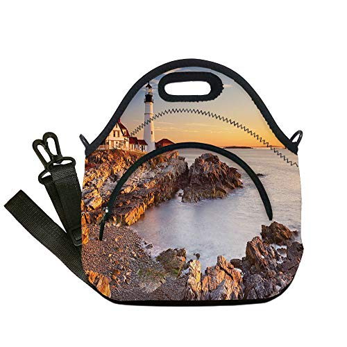Insulated Lunch Bag,Neoprene Lunch Tote Bags,United States,Cape Elizabeth Maine River Portland Lighthouse Sunrise USA Coast Scenery,Light Blue Tan,for Adults and children