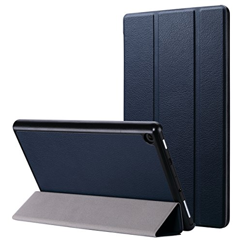 azon Fire HD 8 Tablet (7th Generation, 2017 Release Only) -Slim Lightweight PU Leather Folding Stand Smart Cover for Fire HD 8, Navy Blue (with Auto Wake/Sleep) ()