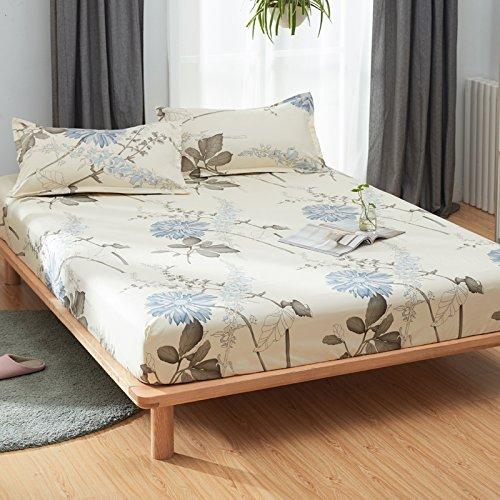 KFZ Fitted Sheet Bedsheet Two Pillowcases for Bedding Duvet Cover Set Comforter Microfiber MJ Twin Full Single Double Bed Rose Mary Flower Design for Kids 3pcs (Fragrance Flower, Beige, Full 59''x79'')