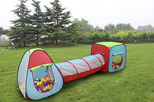 51 7M0 zaIL - Kiddey 3pc. Kids Ball Pit With 200 Balls, See Through Play Tent Tunnel Set– Crush Proof Balls - Great Gift for Boys & Girls, Toddlers & Babies – Indoor/Outdoor, Carrying Case for Balls and Ball Pit