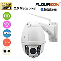 FLOUREON 1080P HD Wifi Dome IP Camera Wireless CCTV Security Cam Waterproof 4X ZOOM IR-CUT PTZ 2.8-12mm H.264 Support Motion Detection Video Recording (4X ZOOM)