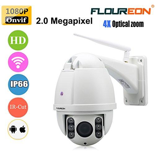 FLOUREON 4X ZoomIP Camera PTZ WiFi Wireless CCTV Security Dome Camera Waterproof HD H.264 Optical Zoom Auto-Focus, 355°Pan/90°Tilt, IR-Cut Night Vision, Motion Detection