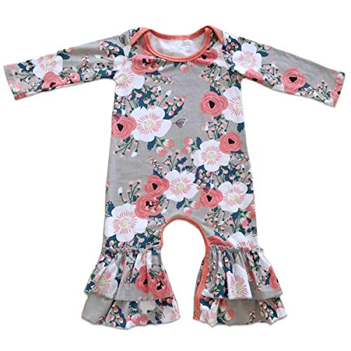 Toddler Little Girls Baby Christmas Romper Icing Ruffle Bottoms Long Sleeve Jumpsuit Playwear Pants Floral Printed Pajamas Nightwear Homewear Summer Fall Birthday Outfits Party Clothes Gray 3-6M (Clothing Boutique Girl Baby)