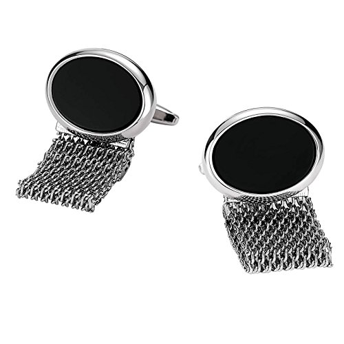 ANAZOZ Stainless Steel Cufflinks for Men Cuff Links Gifts Silver Black Oval with Hollow Chain 1.7x2.2CM