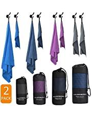 JUMPSOUL Microfiber Towel Perfect Travel & Sport &Beach Towel-Ultra Compact Super Absorbent Soft Dry Quick- Suitable for Yoga Gym Bath Camping Golf Backpacking + Gift Bag&Carabiner