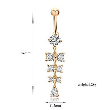 Amazoncom 18k Gold Belly Button Rings Navel Piercing Body Jewelry