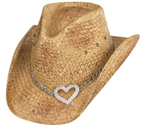 one-size-brown-heart-attack-straw-western-hat-with-silver-heart-pendant