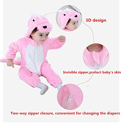 Tonwhar Toddler Infant Tiger Dinosaur Animal Fancy Dress Costume (70(Height:22''-26''/Ages 0-6 Months), Pink) by Tonwhar (Image #1)