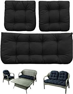 Indoor Outdoor 3 Piece Patio Wicker Seat Cushions Set,1 Loveseat Cushion and 2 Backrests Patio Wicker Seat Cushions,Patio Bench Seat Cushions 43inch,All Weathe (Black)