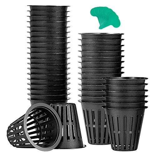 VIVOSUN 40 Pack 2 Inch Net Pots Heavy Duty Net Cups with 12 Pcs Plant Labels