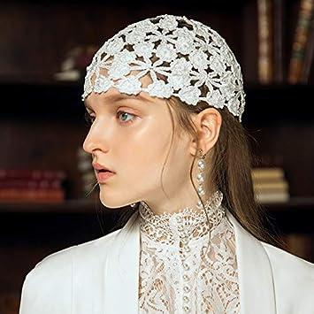 Bonnet Baotou Femme MAZIQ Fleurs tricot/ées /à la Main Turquoise Respirant Chapeau Turban tricot/é au Crochet creus/ées au Printemps et en /ét/é