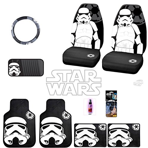 New 12 Pieces Star Wars Stromtrooper Car Truck SUV Seat Covers Floor Mat Set with Travel Size Purple Slice (Star Wars Seat Cover Set compare prices)