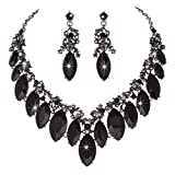 Youfir Star Luxurious Austria Crystal Rhinstone Necklace Earrings Set for Bridal Wedding Ceremony Events Dress (Black)