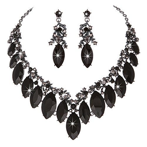 Prom Necklace Set - Youfir Star Luxurious Austria Crystal Rhinstone Necklace Earrings Set for Bridal Wedding Ceremony Events Dress (Black)
