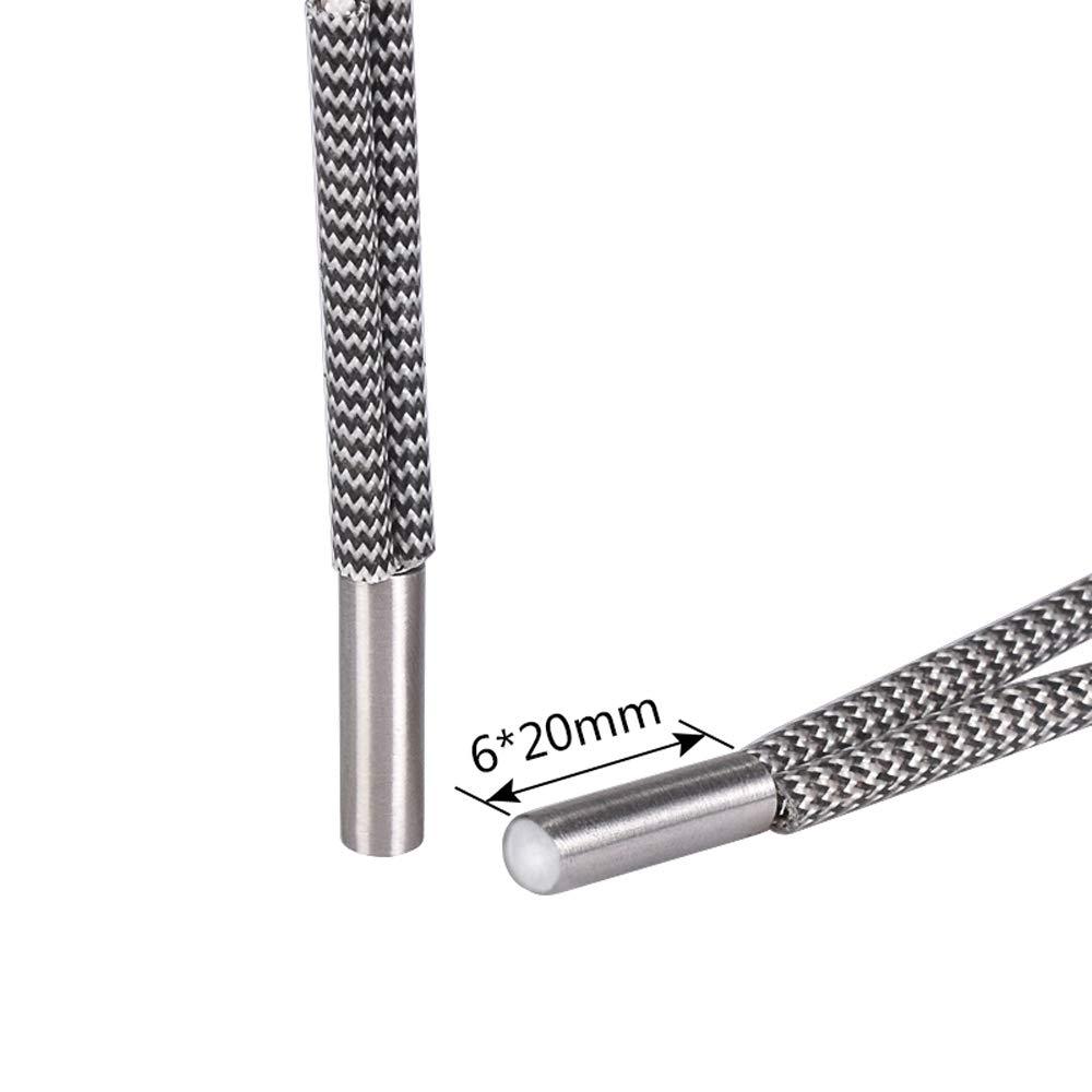 24V 50W 6 20mm Heater Cartridge 1M Long 620 Heating Tube for Ender 3 CR-10 Mendel Prusa Reprap MK8 MK9 3D Printer V6 J-Head Hotend Extruder 5 Pack