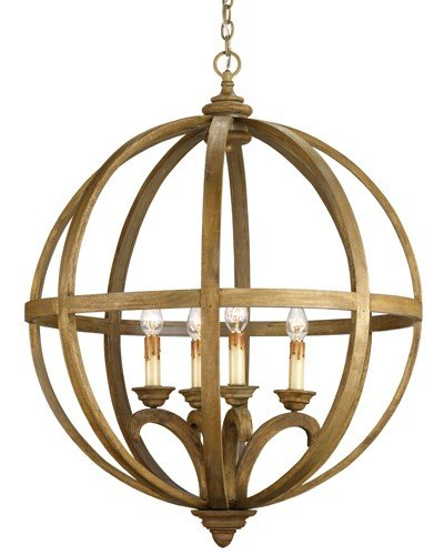 (Currey and Company 9015 Axel Orb - Four Light Chandelier, Chestnut Finish with Shade Option )