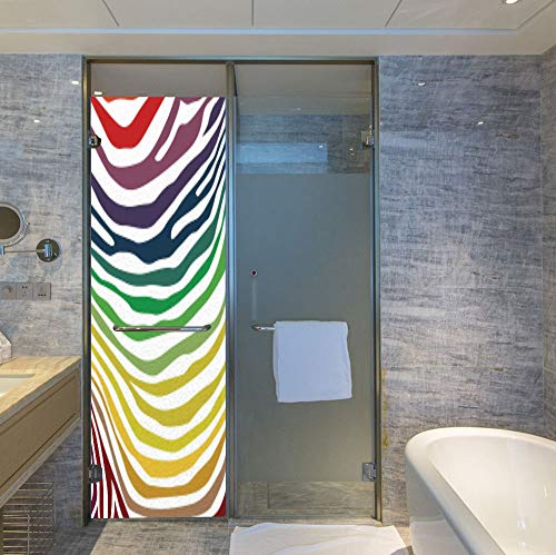Etched Zebra Stripe - YOLIYANA The Visual Effect of Textured Glass and Stained Glass,Zebra Print,is Good for Long Year Under The Sunshine,Colorful Zebra Stripes Pattern in Cheering Rainbow Color,24''x78''