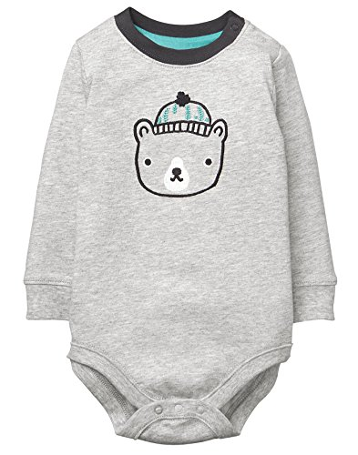 Gymboree Baby Boys Long Sleeve Graphic Bodysuit, Grey, 3-6 Mo