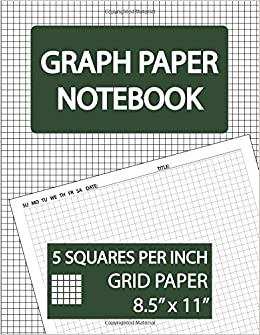 graph paper notebook 5 squares per inch grid paper squared graphing