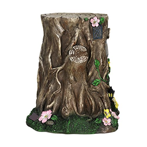 Exhart Gardening Gifts –Fairy House Tree Stump Statue - Large Garden Statues w/Solar Garden Lights, Outdoor Use, Fairy Themed Garden Décor, Weather Resistant Resin Statues by Exhart (Image #6)
