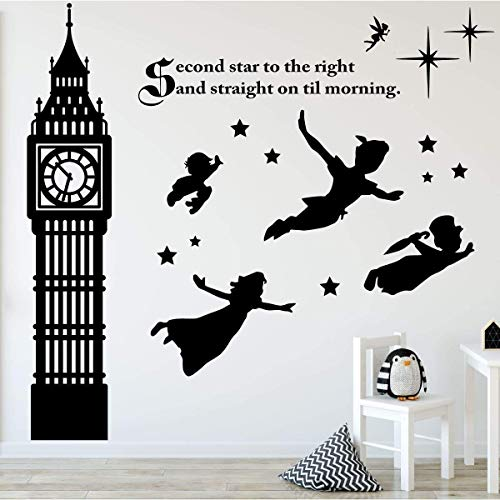 Children's Room Wall Decor | Peter Pan Scene Silhouettes | Themed Vinyl Stickers for Kids Playroom, Boy or Girl Bedroom | Second Star to the Right and Big Ben Clock | Black, White, Other Colors