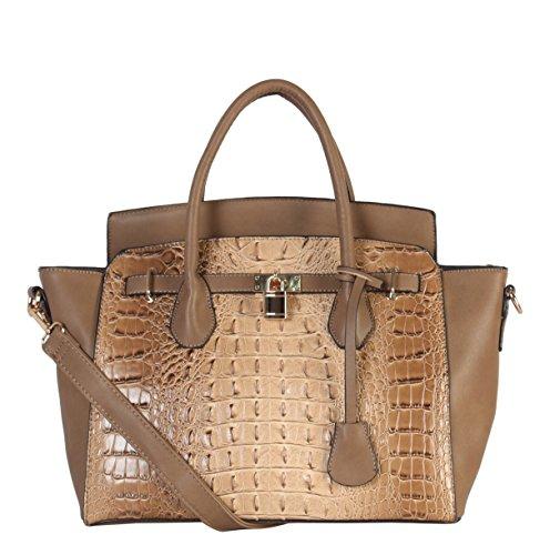 Diophy PU Leather Large Solid Crocodile Pattern Front Lock Trapeze Tote (Crocodile Handbag)