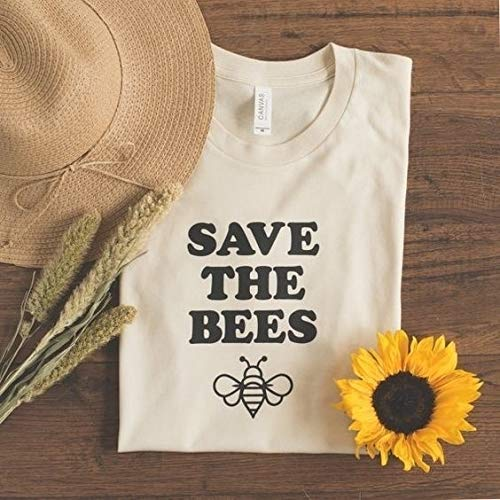 Hylong New Hot Save The Bees Letter Print Top Tee Lady's Cute Graphic Tee Summer Outfit Casual Short Sleeve T-Shirt White Yellow Beige M