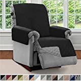 Sofa Shield Original Patent Pending Reversible Recliner Slipcover, Dogs, 2' Strap/Hook Seat Width Up to 28' Washable Furniture Protector, Slip Cover Throw for Pets, Kids, Cats (Recliner: Black/Gray)
