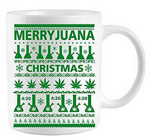 Create Your Own Mug Merryjuana Weed Ugly Christmas Sweater Coffee Mug Gift Coffee Mug 11Oz Coffee Mug Custom Coffee Mugs Near Me By Ugtell