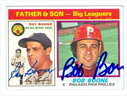 Autograph Warehouse 30987 Bob Boone Ray Boone Autographed Baseball Card 1976 Topps Father Son Baseball Card Phillies Tigers ()