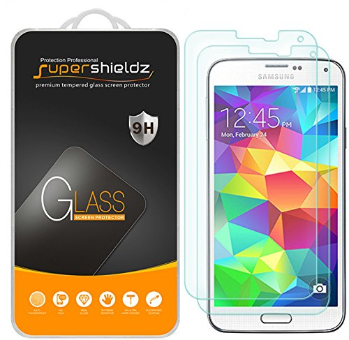 [2-Pack] Supershieldz for Samsung Galaxy S5 Tempered Glass Screen Protector, Anti-Scratch, Anti-Fingerprint, Bubble Free, Lifetime Replacement Warranty (Galaxy Phone Screen Protector)