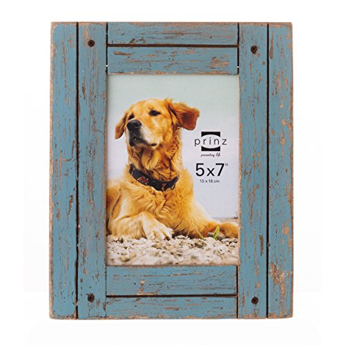Prinz Homestead Distressed Wood Frame, 5 by 7-Inch, Blue