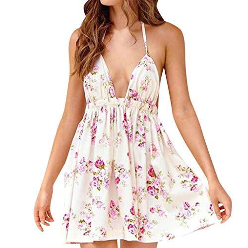 (Aniywn Womens Flared Plunging Deep V-Neck Floral Printed Mini Dress Backless Spaghetti Straps Dresses Beige)