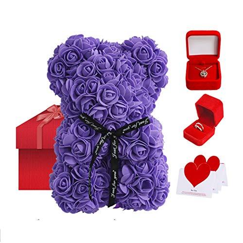 coil-c Rose teddybeer | Valentine handgemaakte creatieve rozenbeer, cadeauset bevat rozenbloembeer, sterling zilveren…