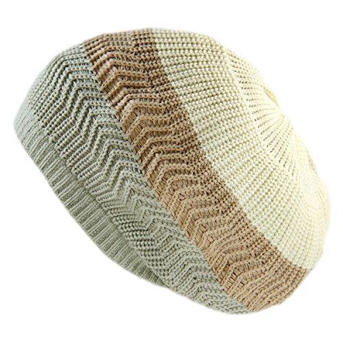 RW Unisex Cotton Classic Rasta Beanie Tam (SAGE Green/Khaki/Cream) - Mens Sage Khaki