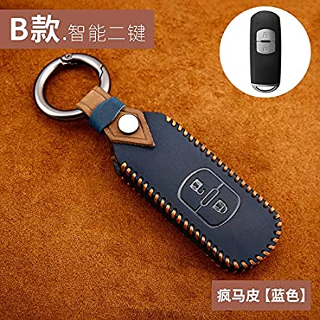 SYJY-SHOP Cover in Pelle Case Cover Car Key Chiave dellautomobile Copertura dellautomobile Chiave Solo for Mazda Axela 2 Atenza CX7 CX5 CX9 MX5 CX4 Accessori Auto Color Name : B Blue