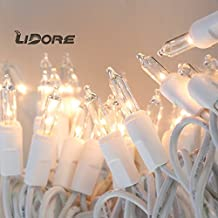 LIDORE 100 Counts Super Bright Clear Mini Christmas tree Lights. White Wire Best Gift for Decoration. End to End Connection. Set of 100
