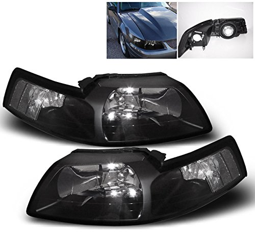 ZMAUTOPARTS Ford Mustang Crystal Headlight Lamp Black Housing GT SVT - Gt Mustang 2001 Ford Parts
