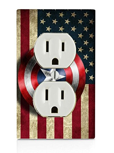 Old Style American Flag With Captain America Shield Design Print Image Electrical Outlet Plate