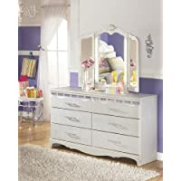Julia Girls Bedroom Silver and Pearl Dresser w/ 3 Panels LED Vanity Mirror