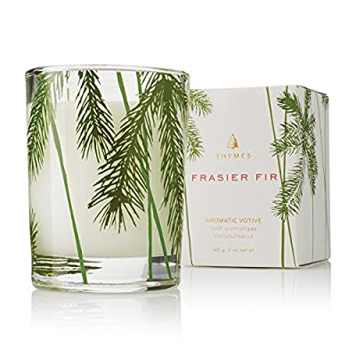 Thymes Votive Candle - 2 Oz - Frasier Fir - Long Lasting Burn: Thymes candles fill your surroundings with long-lasting fragrance and pure, welcoming ambience. Made with high-quality, food-grade paraffin wax and non-metal wick for a refined, clean burn lasting up to 60 hours. Artisian Design: Thymes Home fragrances are born from nature, and grown through thoughtful design and artfully created formulas. Inspired to live and flourish in the home, these fragrances perfectly capture the essence of each season. Fragrance Details: Frasier Fir will be your new delectable holiday tradition, with a mix of aromatic snap of crisp Siberian Fir needles, heartening cedarwood and relaxing sandalwood. - living-room-decor, living-room, candles - 51 7QLN9IiL. SS400  -