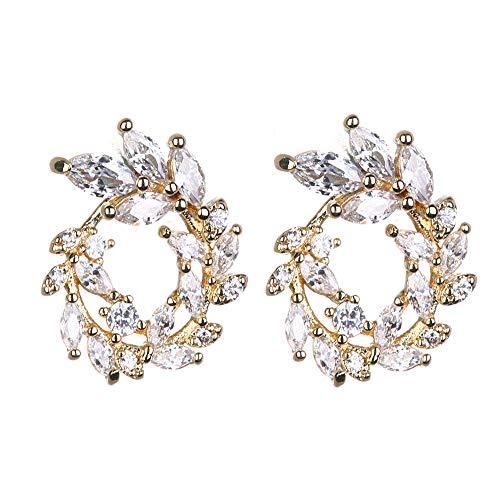 Fashion Round Olive Branch Stud Earrings for Women Leaves Shape Cubic Zirconia Rhinestone Jewelry