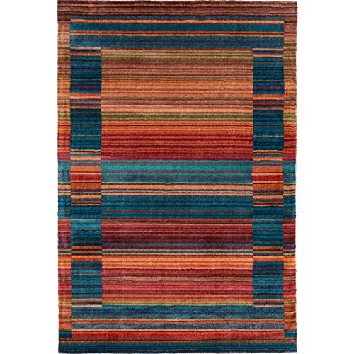 Decomall Modern Mosaic Geometric Striped Abstract Area Rug for Living Room Bedroom, Multicolor, 5x7 ft
