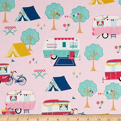 - Riley Blake Glamping Main Pink Fabric by the Yard