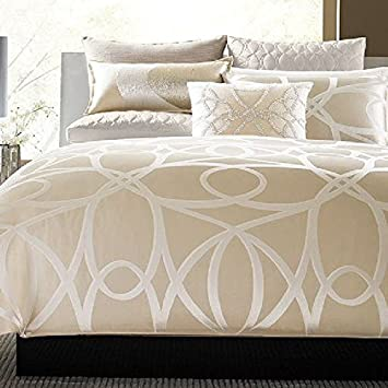hotel collection oriel tan ivory full queen duvet cover king size linen twin
